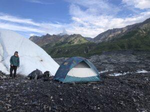 tent on glacier moraine
