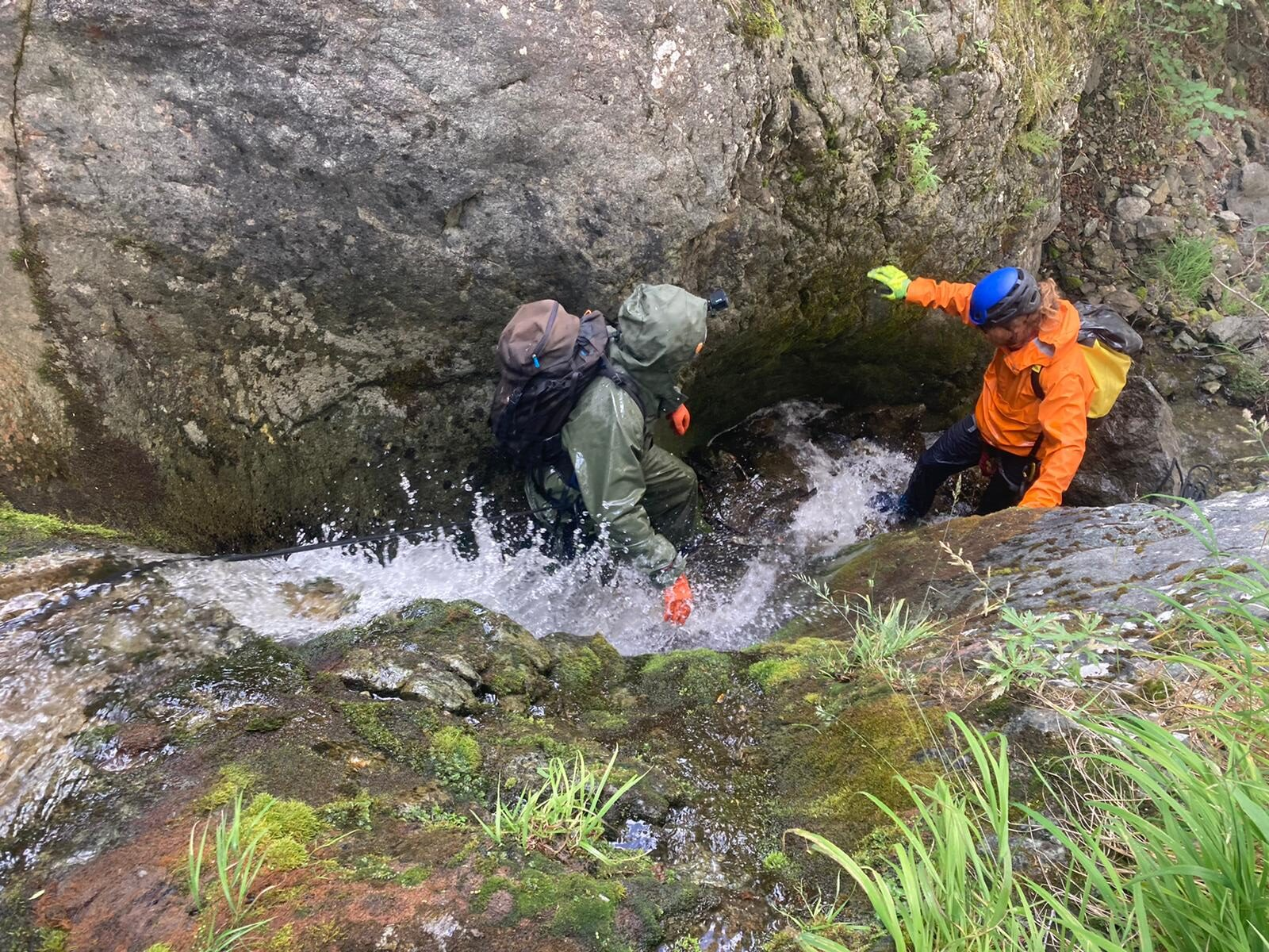 person on Alaska canyoneering adventure