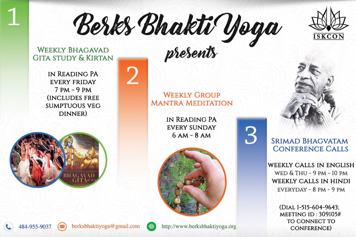 Come and Experience the Bliss and Nectar of Bhakti Yoga - Kirtan, Bhagvat Gita Study, Mantra Meditation, Prayers in Reading - Friday's @7:30pm @ Online - Please Register for Details