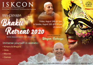 USA Canada Online Bhakti Retreat 2020 @ Online - Please Register for Details