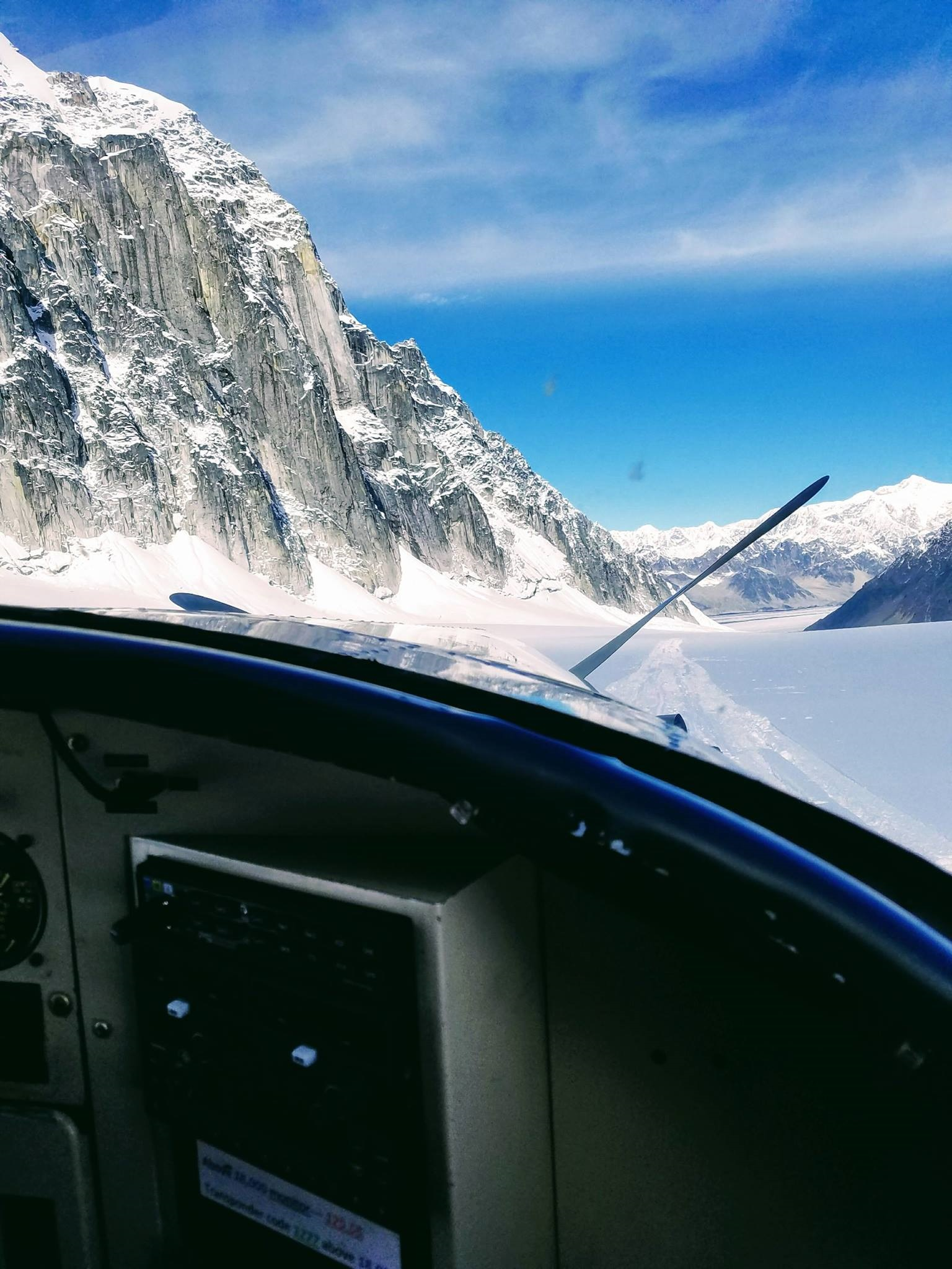 view out of plane into Denali