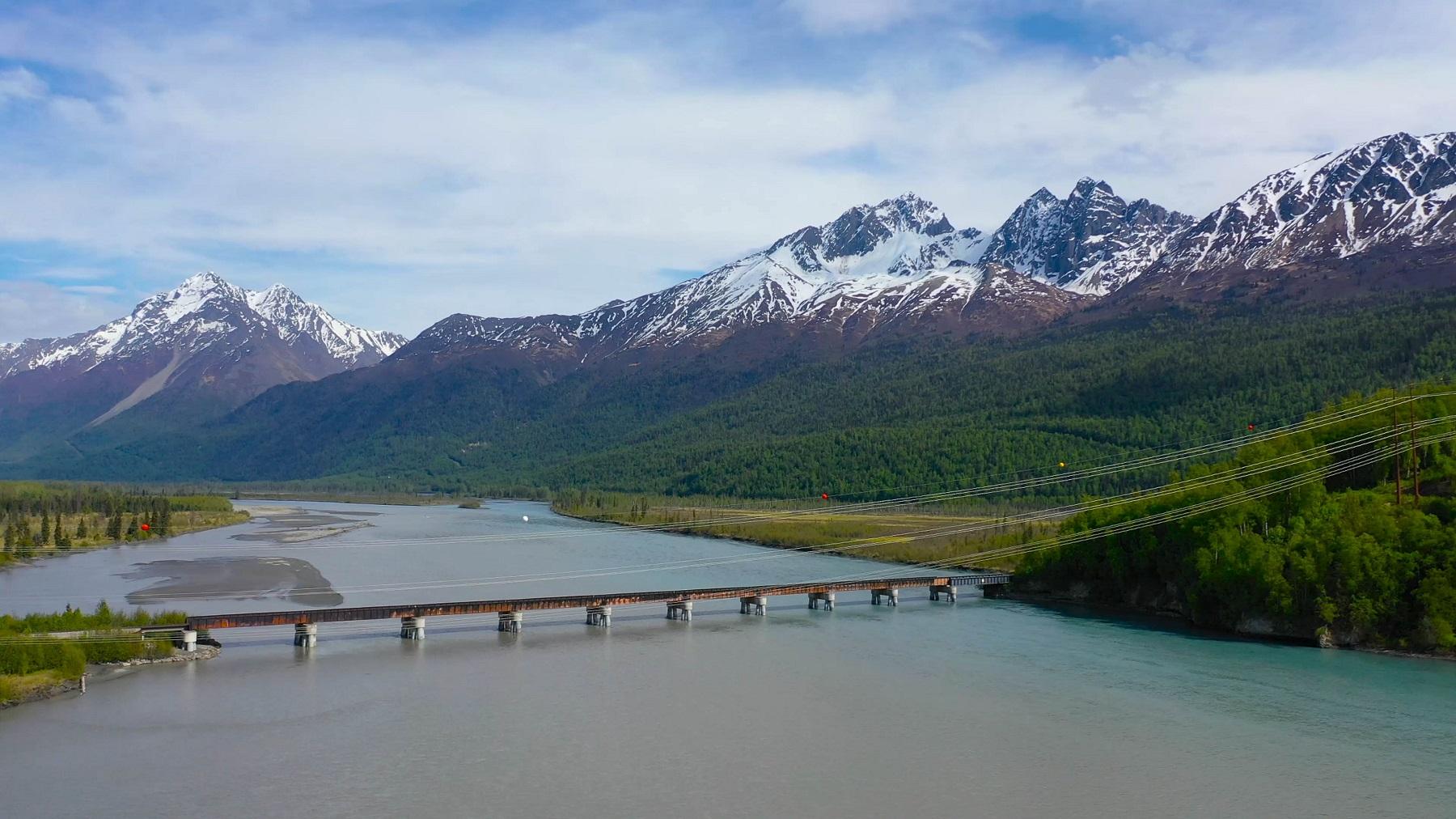 river mountains bridge trees
