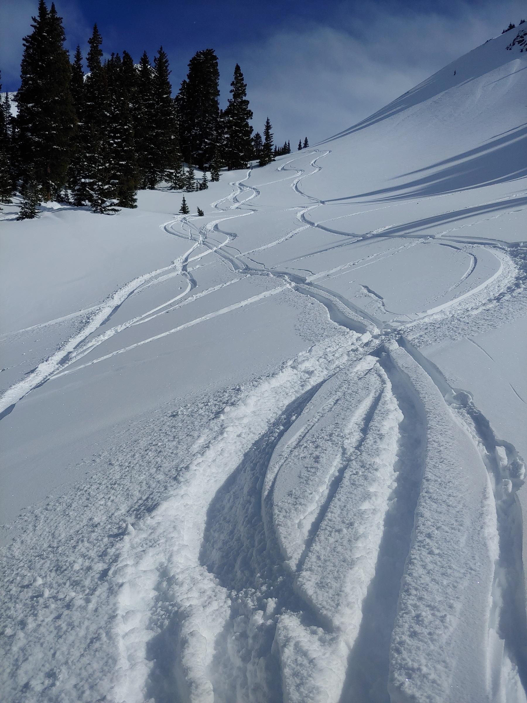 fresh ski tracks in snow