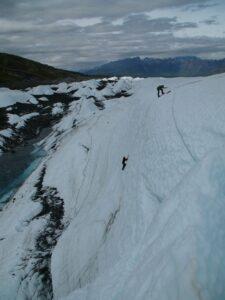 ice climbers on ice