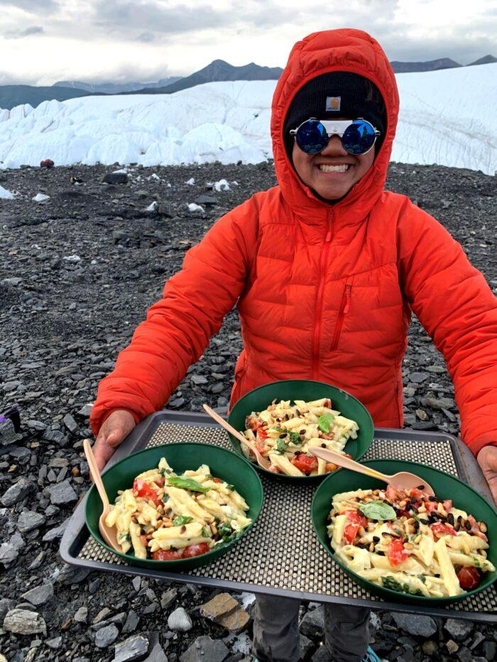 Gourmet food on glacier