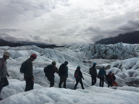 large group on Matanuska Glacier