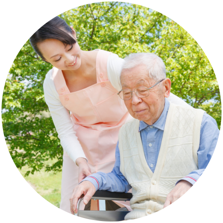a chinese nurse and old man in the garden
