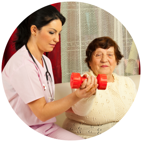 caregiver assisting an old woman to exercise