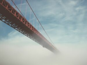 faded bridge into the fog
