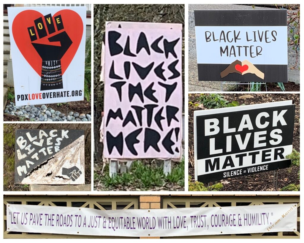 collage of BLM and racial justice signs