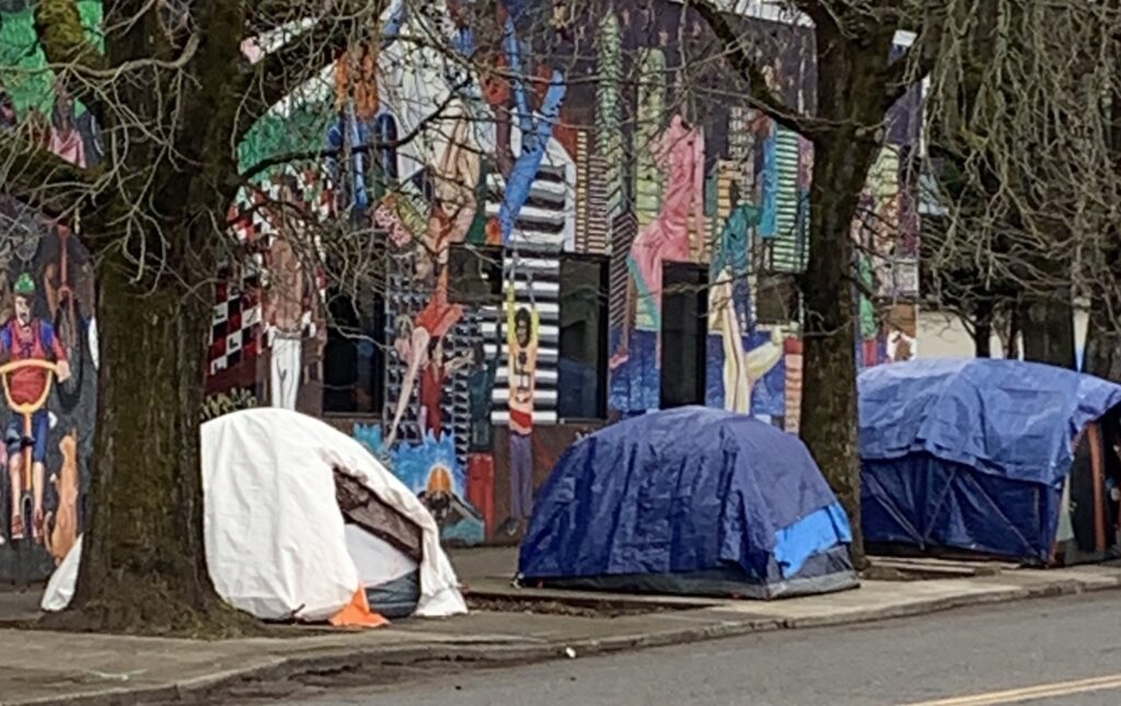tents on the sidewalk in Portland, OR