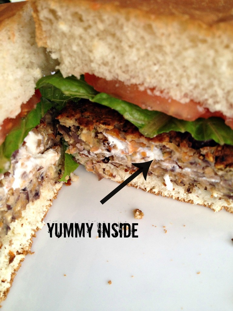 Goat Cheese Stuffed Black Bean Burger #15MinuteSuppers