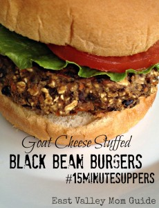 Goat Cheese Stuffed Black Bean Burgers #15MInuteSuppers