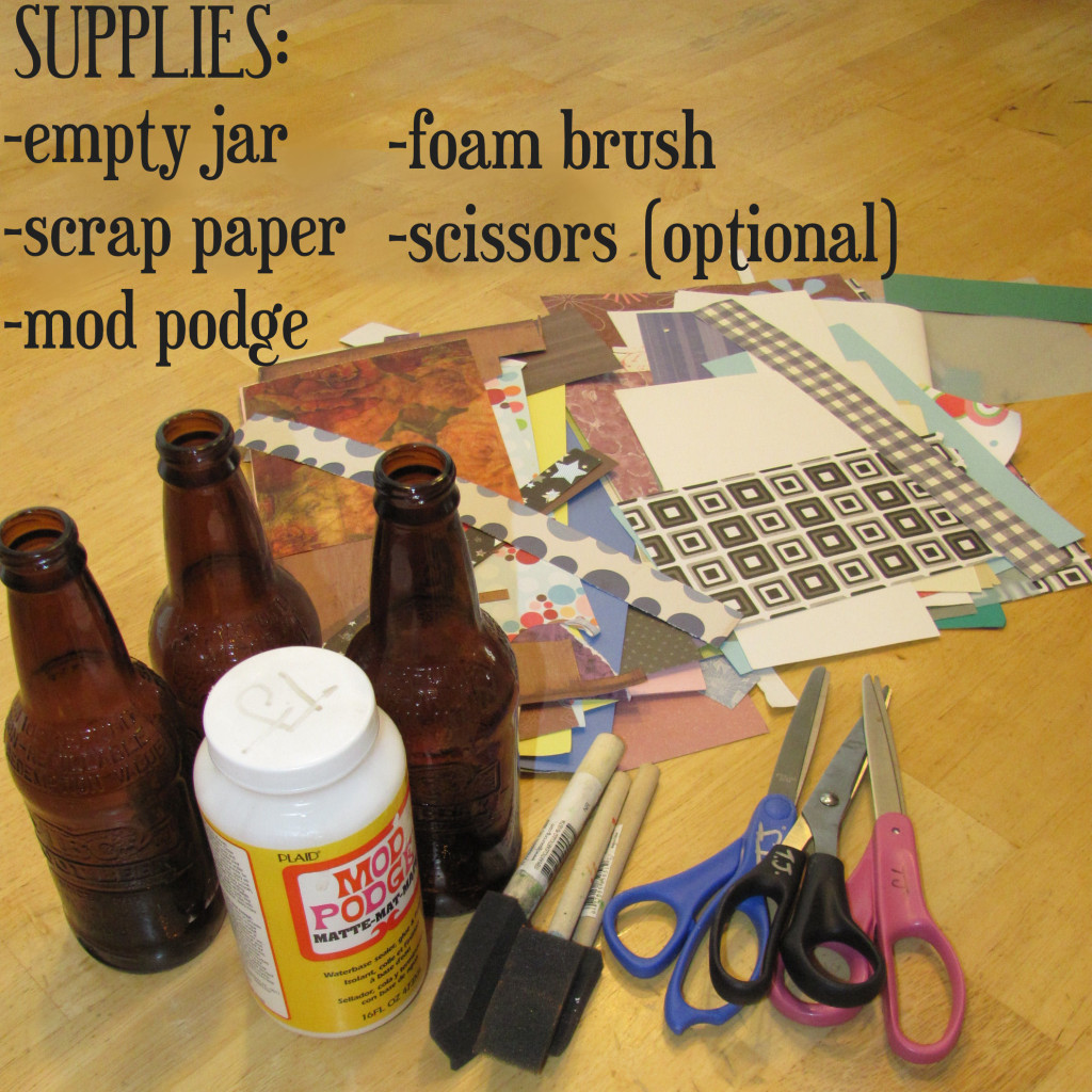 Supplies needed to create your own personal money jar