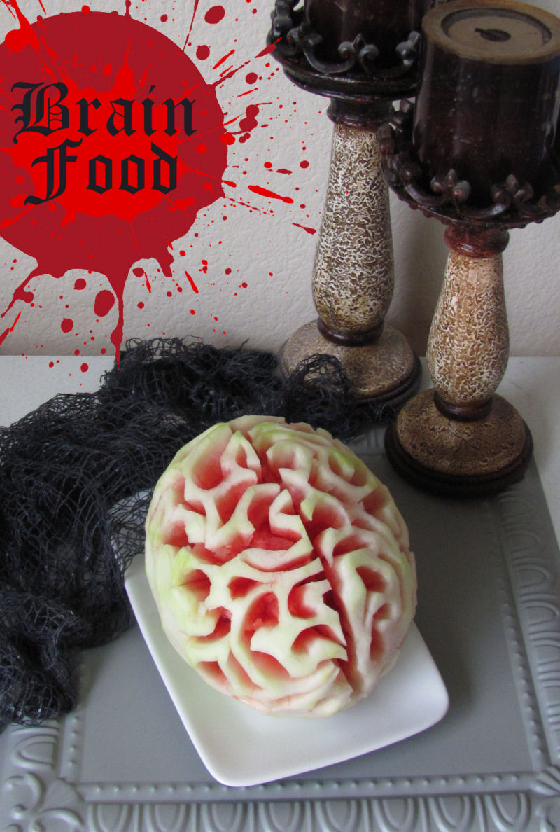 "Add this healthy Halloween ""brain food"" to your party table with this creepy carved watermelon."