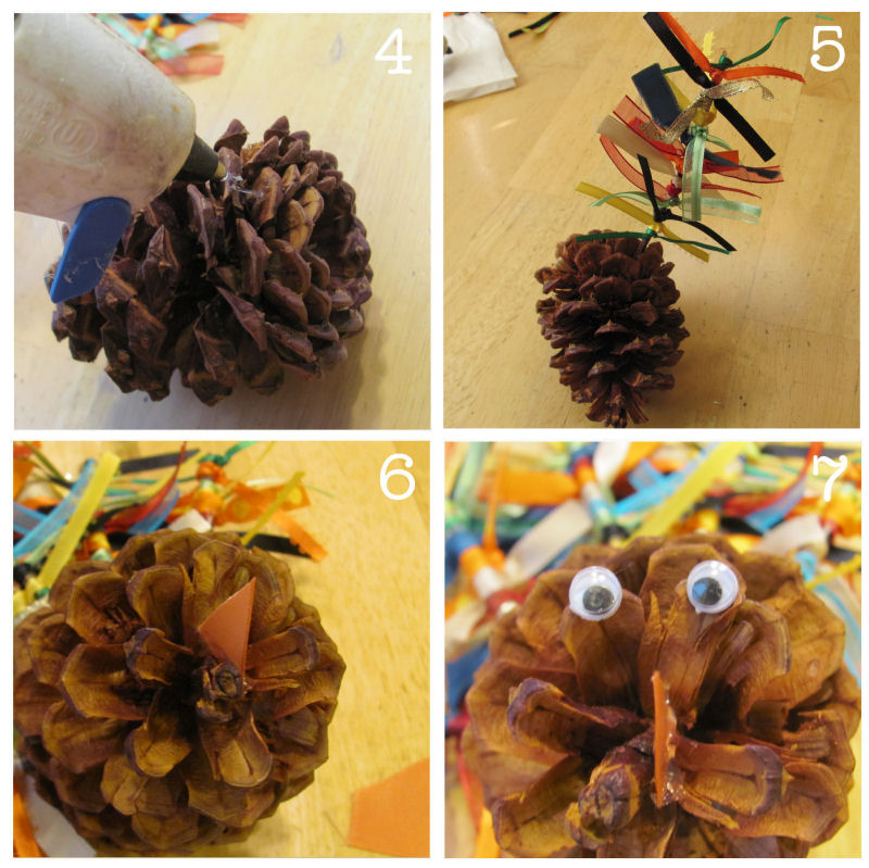 simple steps for a ribbon feather pinecone turkey