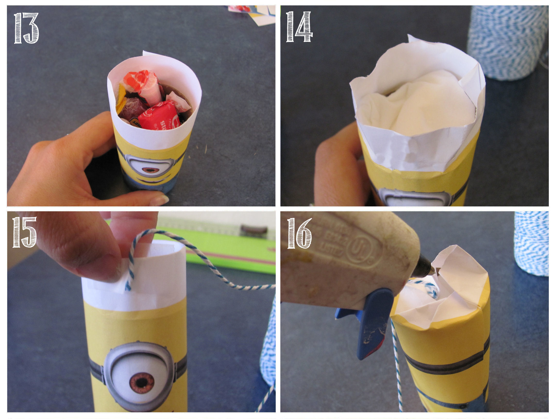 the final steps to make a mini minion pinata