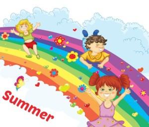 children playing on rainbow