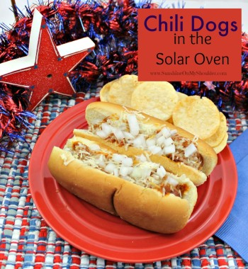 Chili Dogs cooked in a solar oven