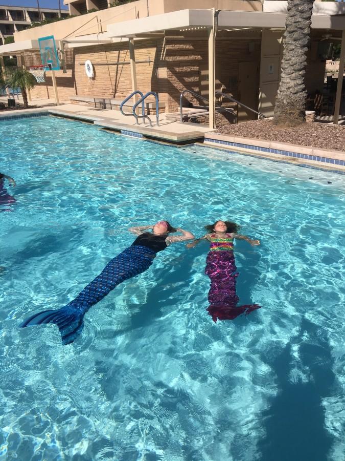 Swim like a mermaid class at the Phoenician with Aquamermaids.