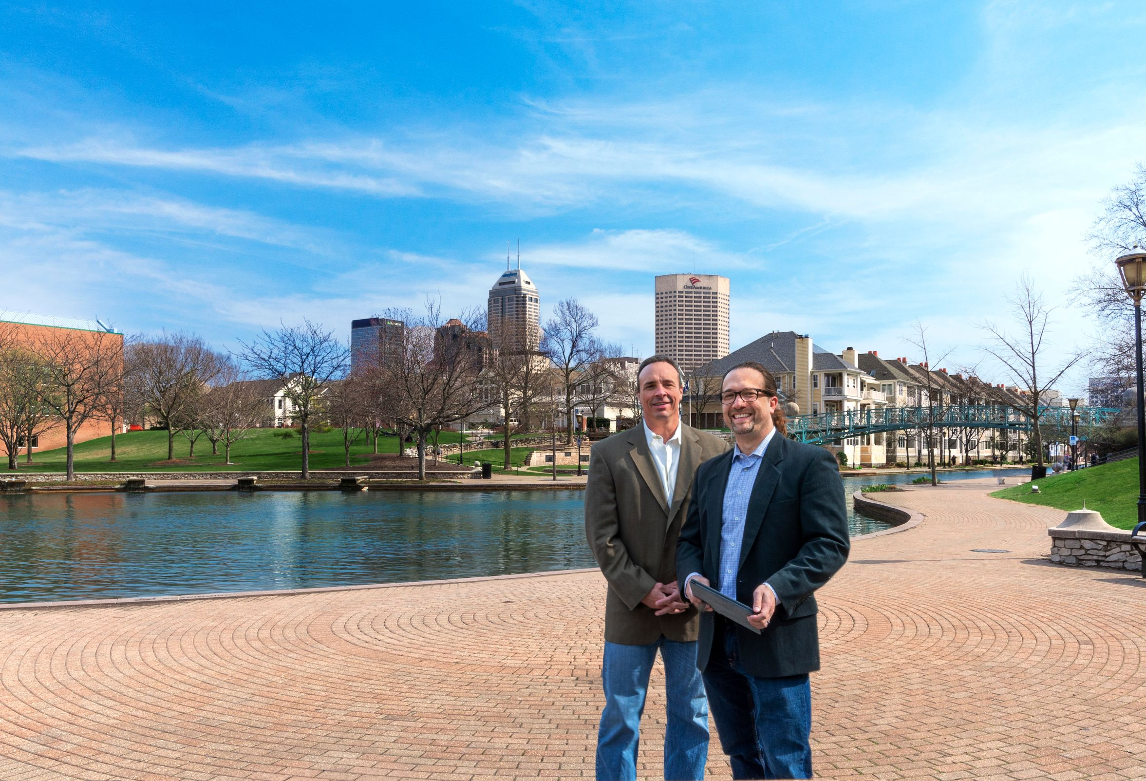 Robert and Al in front of Canal in Indianapolis | Public Relations Firm in Indianapolis | Veteran Strategies
