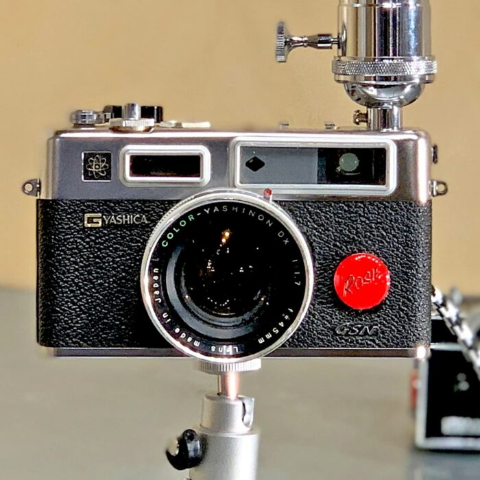 Up close front view of Rosie's Workshop original vintage camera accent light - the Yachica E35, the Spider Man Camera. All parts are UL component listed (c UR us) for United States and Canada.
