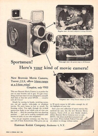 Ad for Kodak Brownie 8mm Movie Camera with Turret f/1.9.