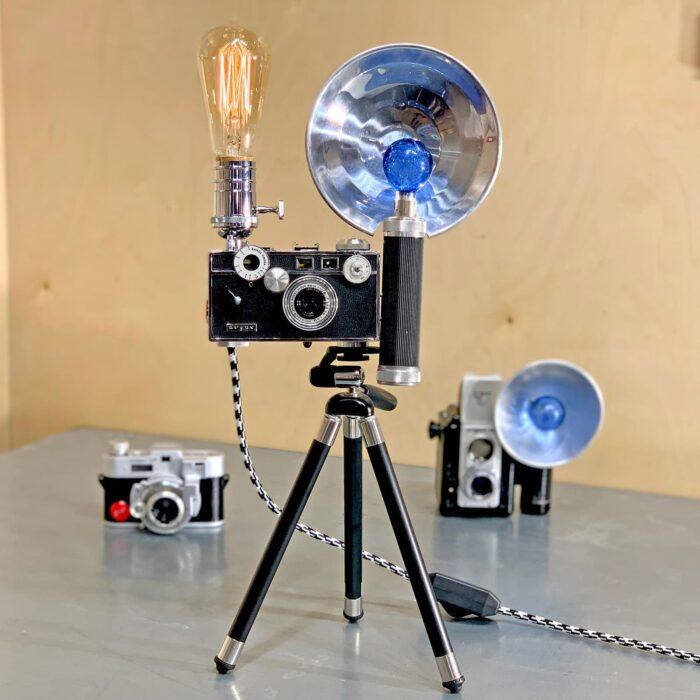 Front view of Rosie's Workshop original vintage camera accent light - the Tony Vaccaro WWII – Argus C3 Brick 35mm. All parts are UL component listed (c UR us) for United States and Canada.