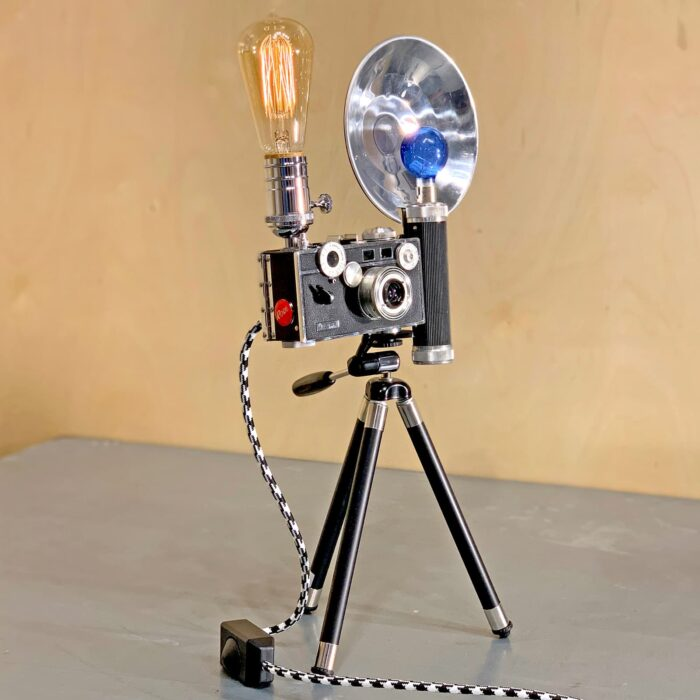 Another front corner view of Rosie's Workshop original vintage camera accent light - the Tony Vaccaro WWII – Argus C3 Brick 35mm. All parts are UL component listed (c UR us) for United States and Canada.