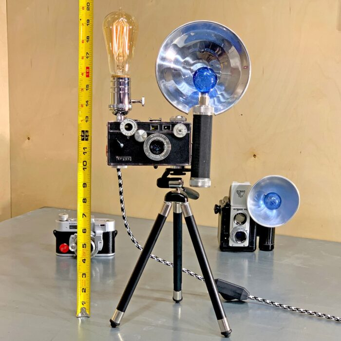 Showing measurements using measuring tape of Rosie's Workshop original vintage camera accent light - the Tony Vaccaro WWII – Argus C3 Brick 35mm. All parts are UL component listed (c UR us) for United States and Canada.