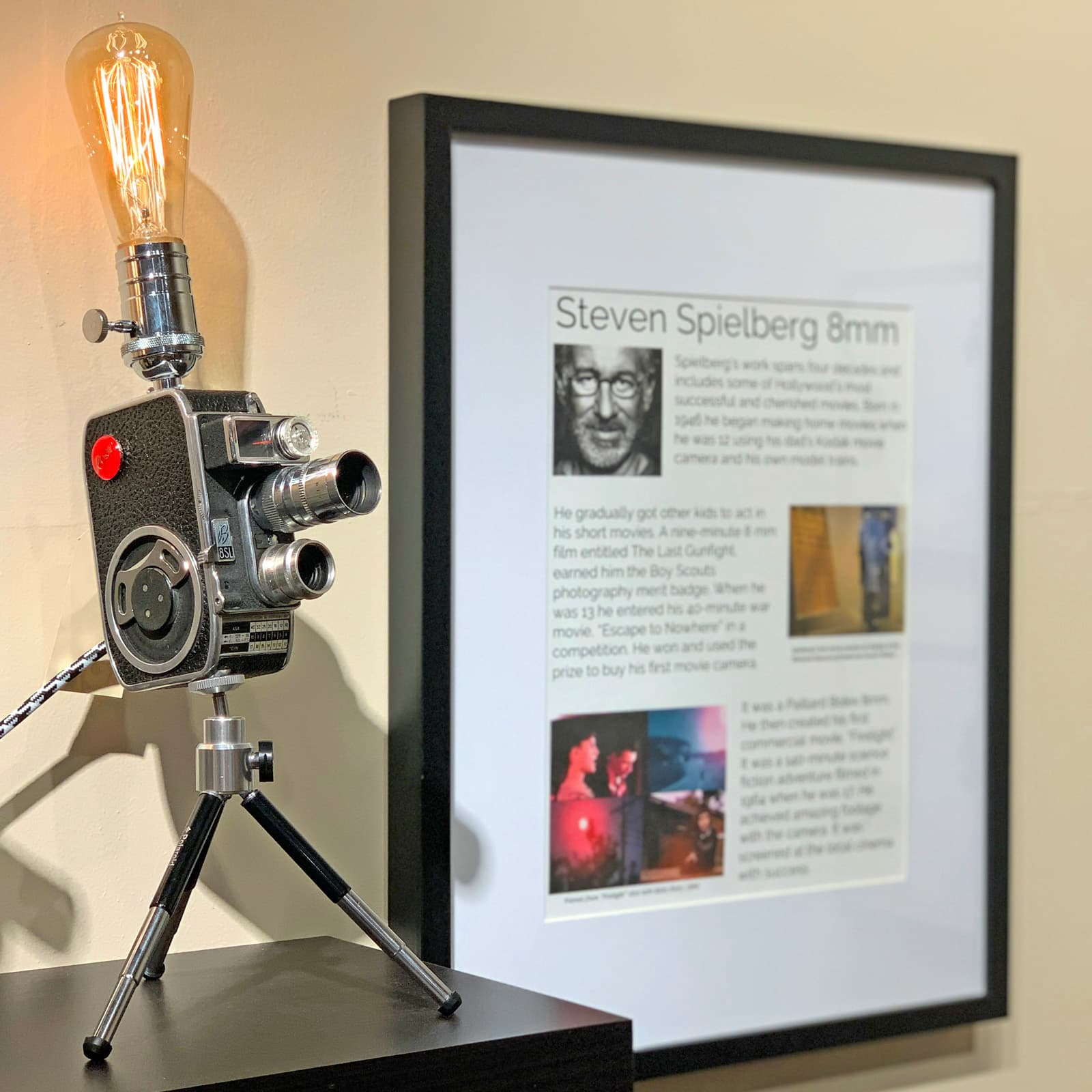 With storycard Rosie's Workshop original vintage camera accent light - Steven Spielberg's First Movie Camera – Bolex B8SL. All parts are UL component listed (c UR us) for United States and Canada.