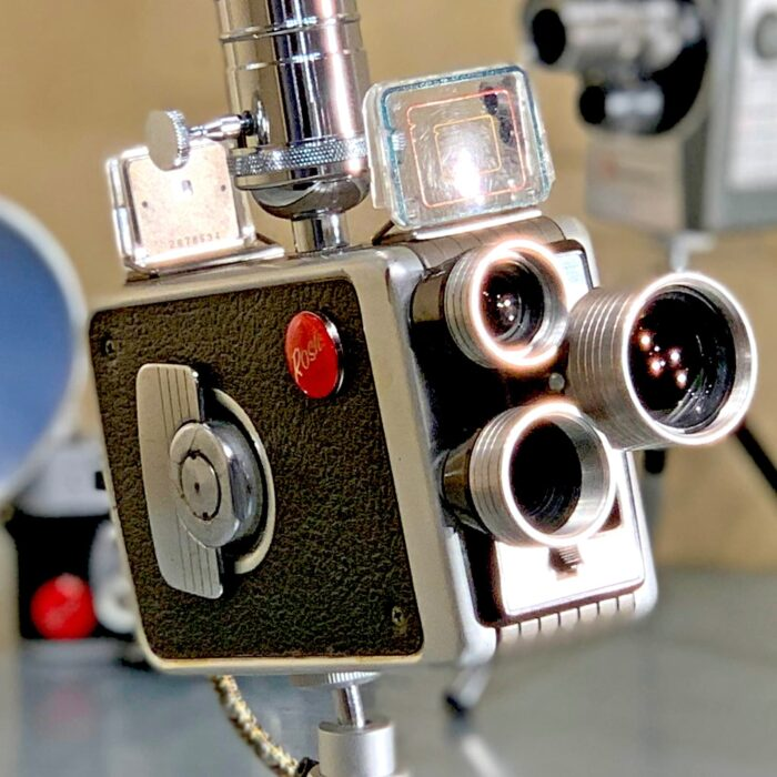 Close-up view of Rosie's Workshop original vintage camera accent light - Walt Disney Movie Camera – Kodak 8mm Turret f/1.9. All parts are UL component listed (c UR us) for United States and Canada.