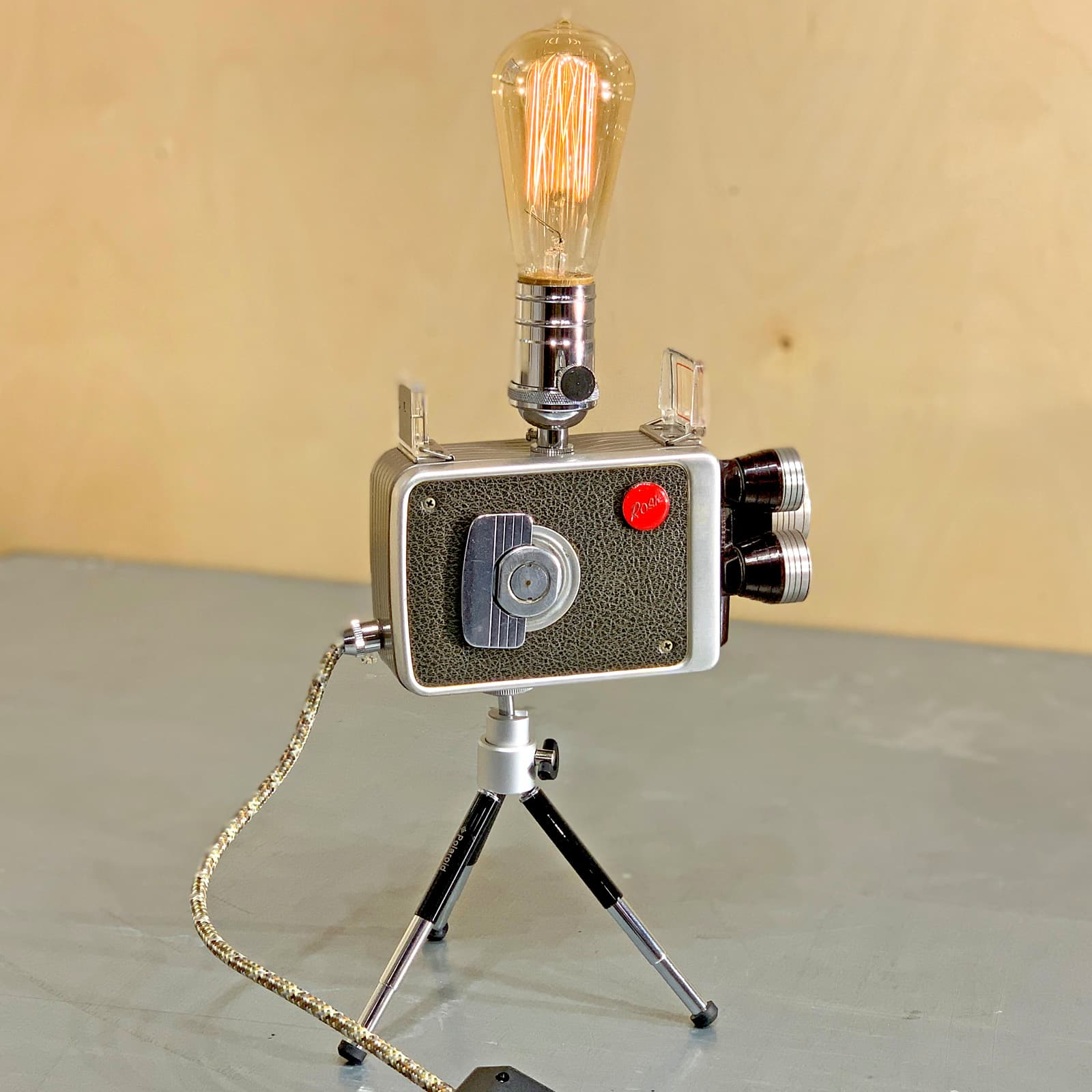 Another side view of Rosie's Workshop original vintage camera accent light - Walt Disney Movie Camera – Kodak 8mm Turret f/1.9. All parts are UL component listed (c UR us) for United States and Canada.