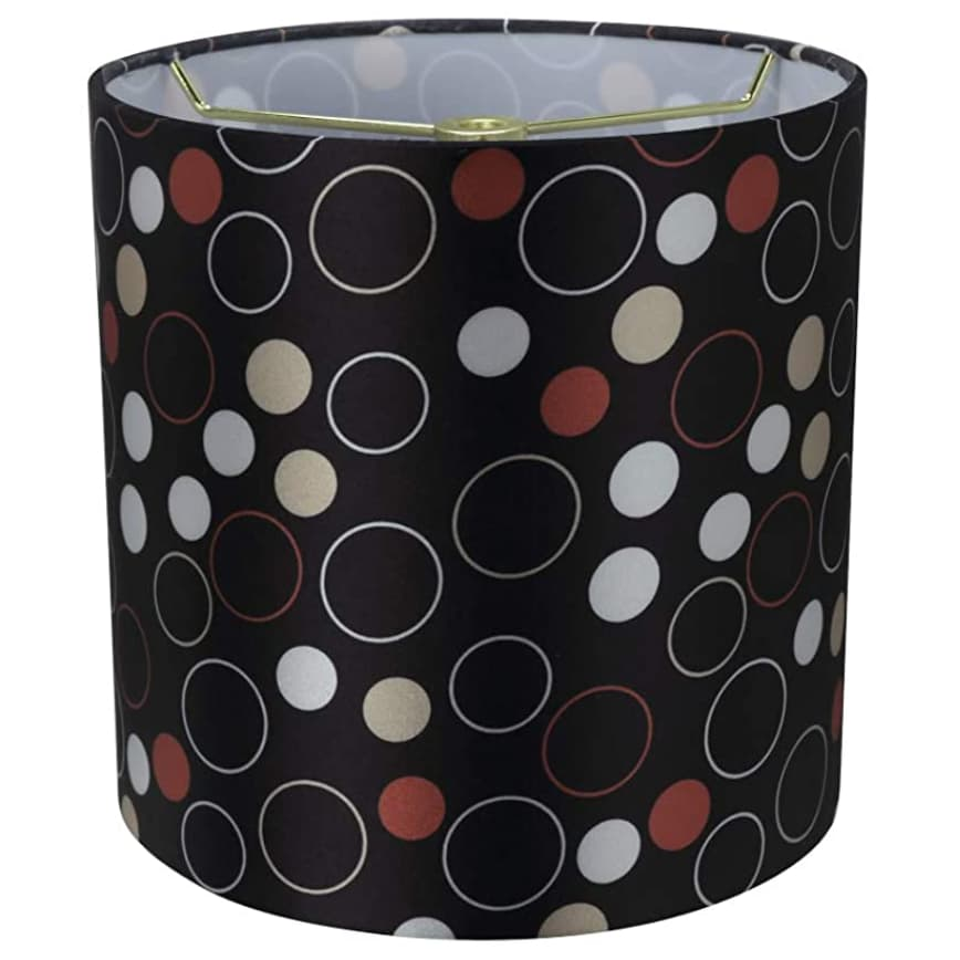 """Another view of Aspen Creative 8""""x8""""x8"""" black, white, red lamp shade."""