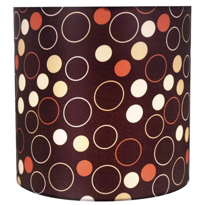 """View of Aspen Creative 8""""x8""""x8"""" black, white, red lamp shade lit."""