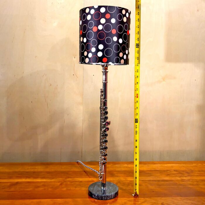 Measurements of Rosie's Workshop original flute table light with red and black lamp shade. All parts are UL component listed (c UR us) for United States and Canada.