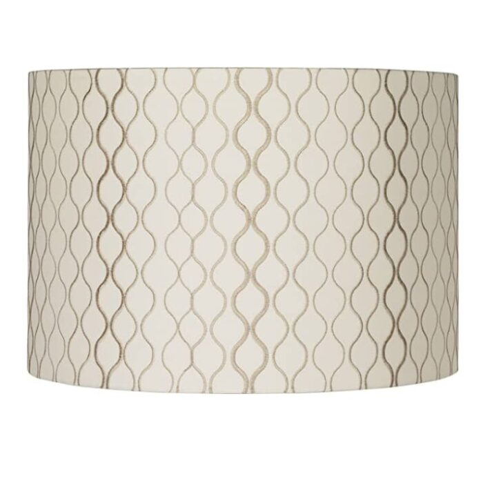"""Lamps Plus Springcrest embroidered 16""""x 16""""x 11"""" off white and tan lamp shade."""