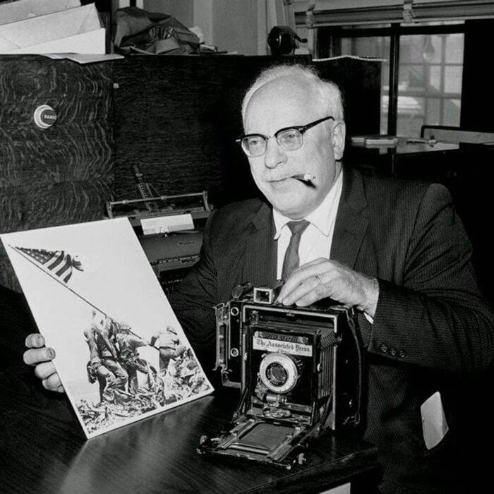 Joe Rosenthal with Speed Graphic Camera and Image of Flag Raising