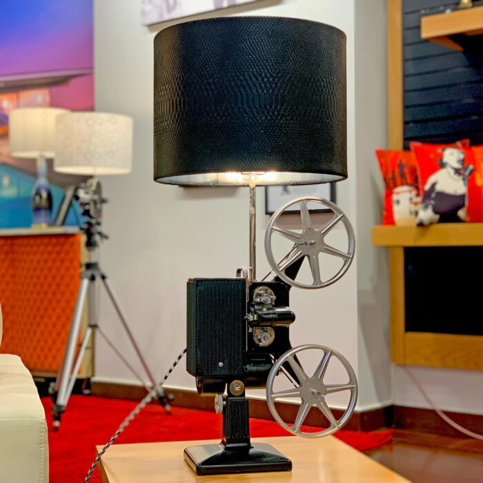 Front view of Rosie's Workshop original Kodascope side table light with black Lamp Shade. All parts are UL component listed (c UR us) for United States and Canada.