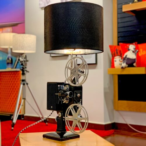 Side view of Rosie's Workshop original Kodascope side table light with black Lamp Shade. All parts are UL component listed (c UR us) for United States and Canada.