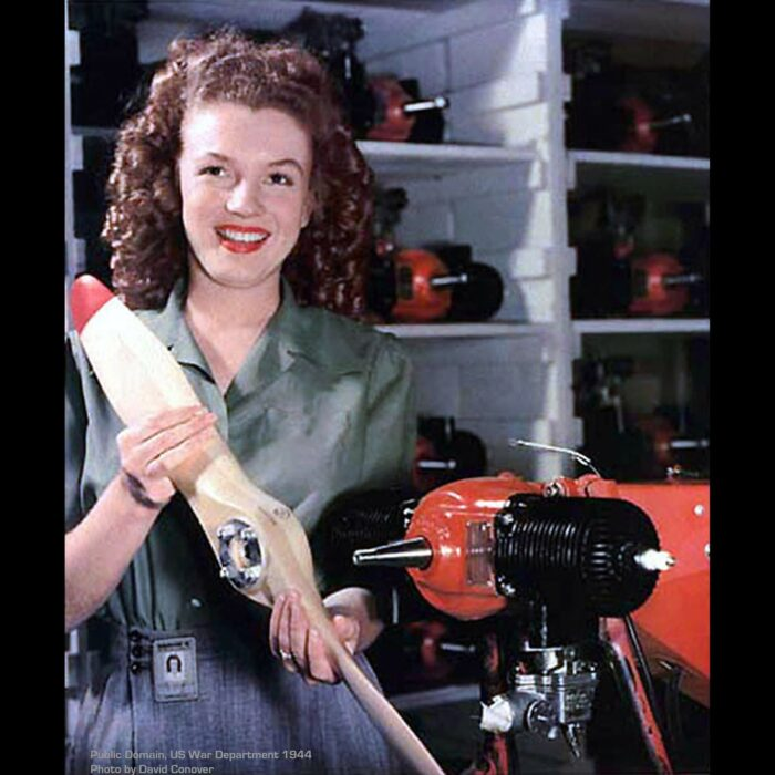 Norma Jeane Baker (later known as Marilyn Monroe) during WWII working at the Radioplane munitions factory in Van Nuys, CA.