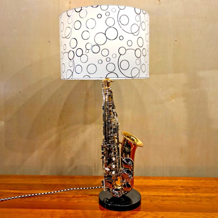 Front view of Rosie's Workshop original saxaphone side table light. All parts are UL component listed (c UR us) for United States and Canada.