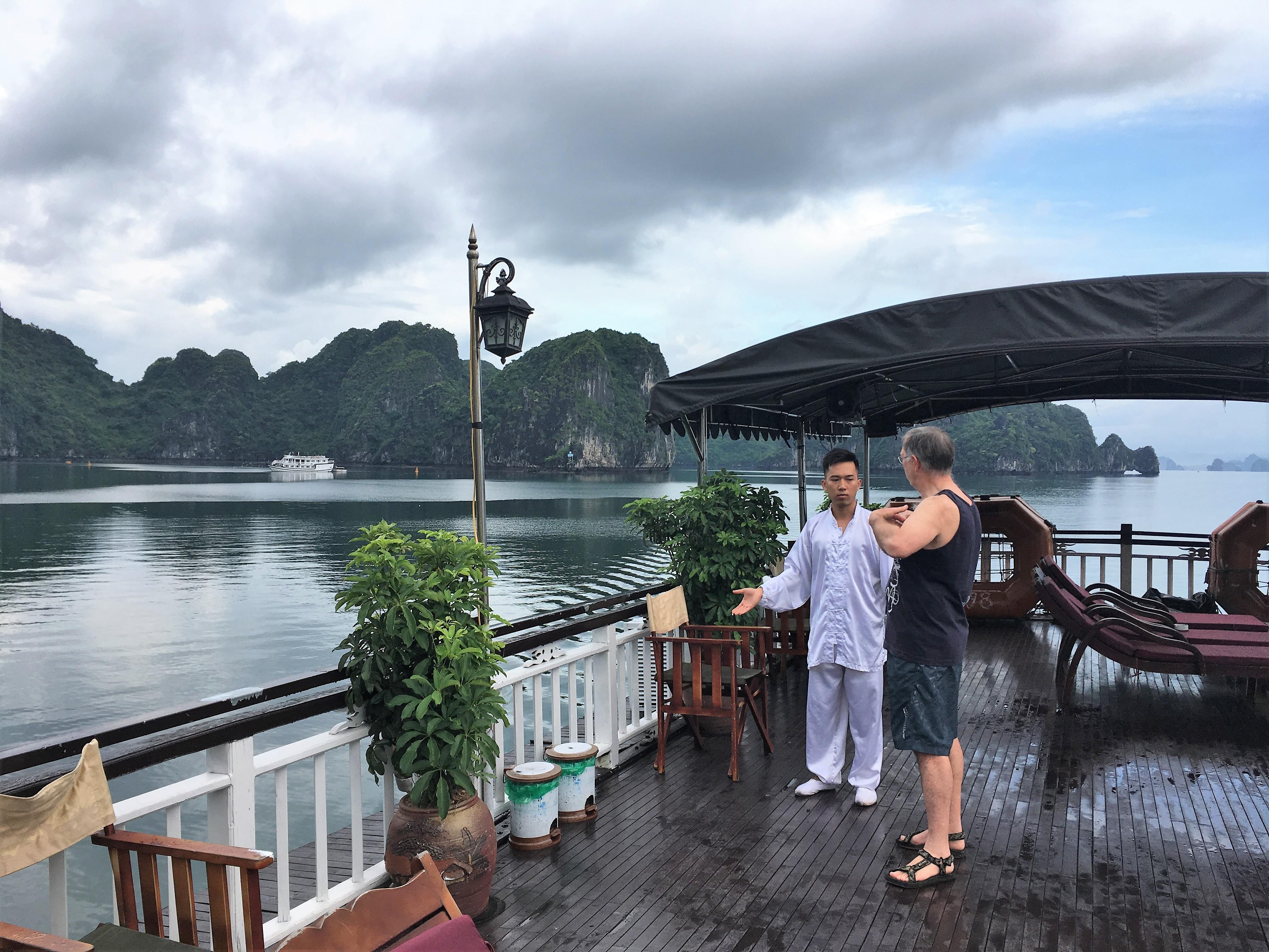 halong bay cruise, ha long bay, tai chi, vietnam
