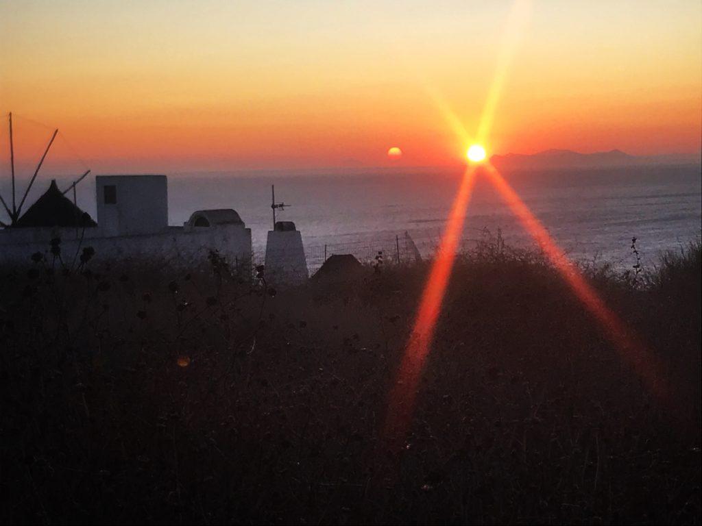 santorini sunset; oia sunset; greek sunset; oia santorini; windmill sunset; santorini windmill