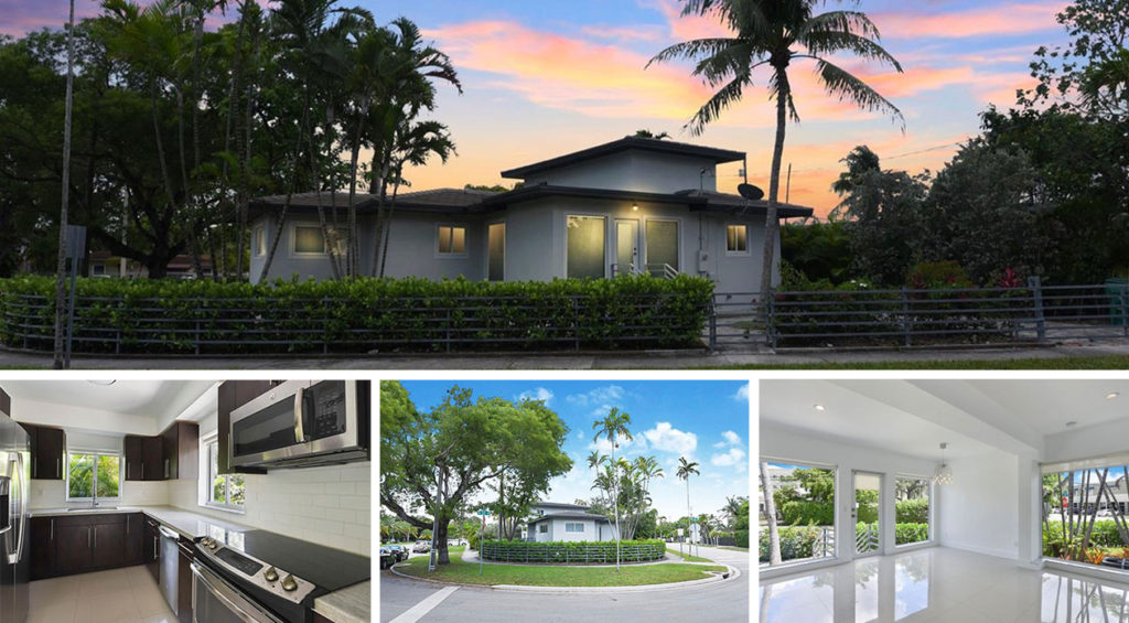 Single family home in Miami, FL with sunset