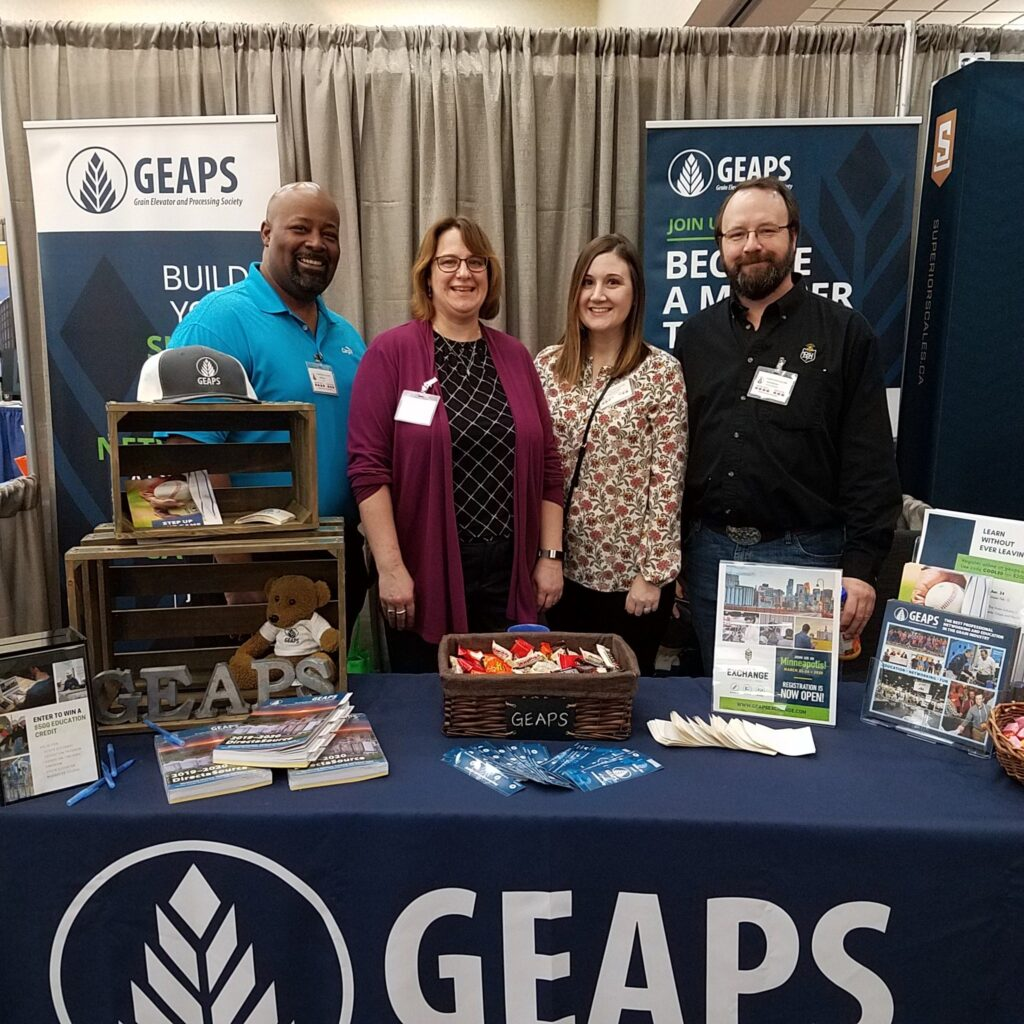 The friendly faces of GEAPS at the Coolest Show! International Board Chair Robert Taylor, Member Services Leader Deb Most, Exposition Production and Sales Leader Adrianne Fjerstad-Miller and International Third Vice President David McKerchar.