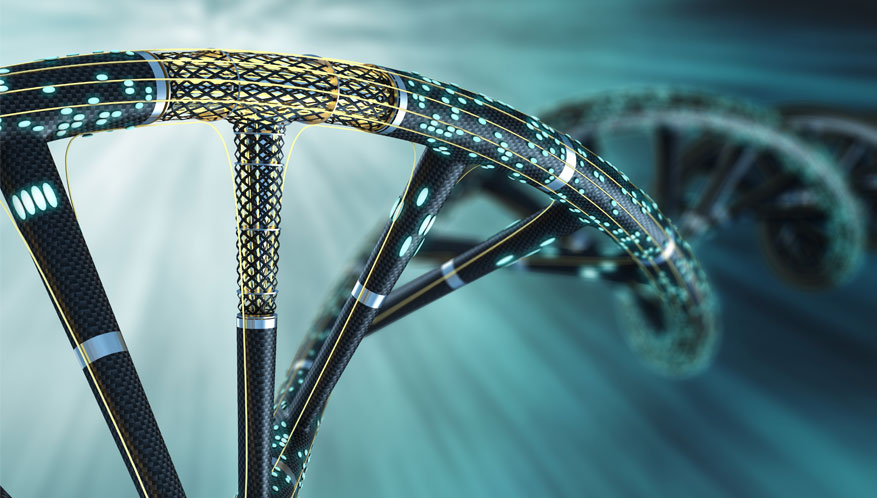 double helix made of circuits