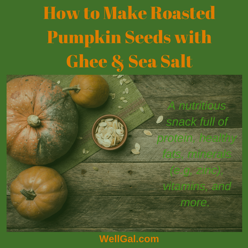 Full of nutrition, check out this recipe to make some roasted pumpkin sees with ghee and sea salt.