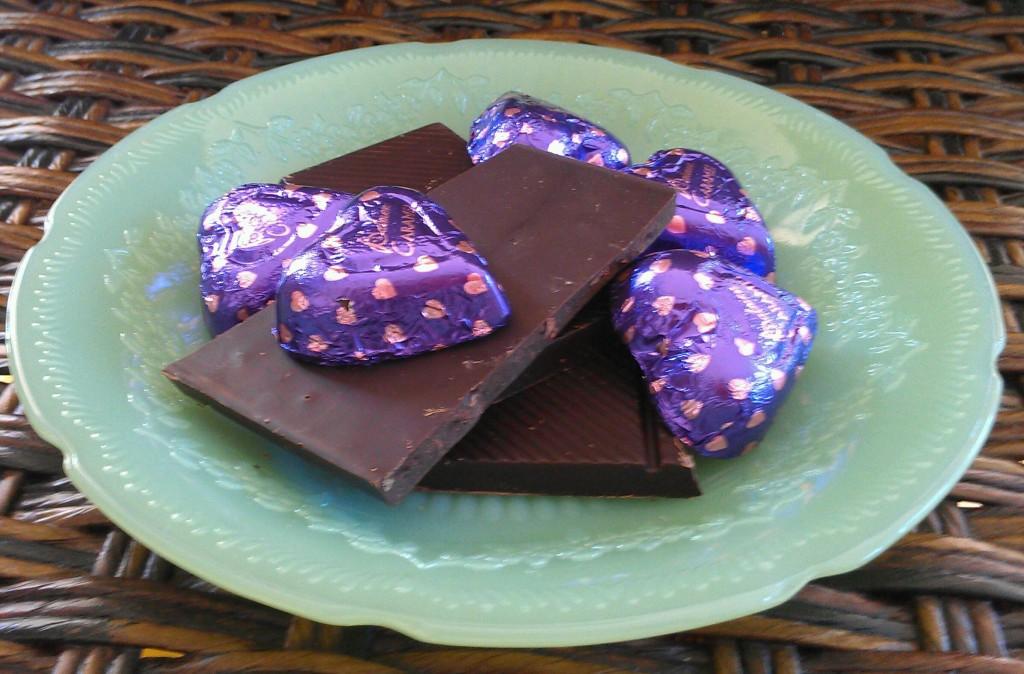 Dark Chocolate Bar Pieces and Chocoalte Hearts