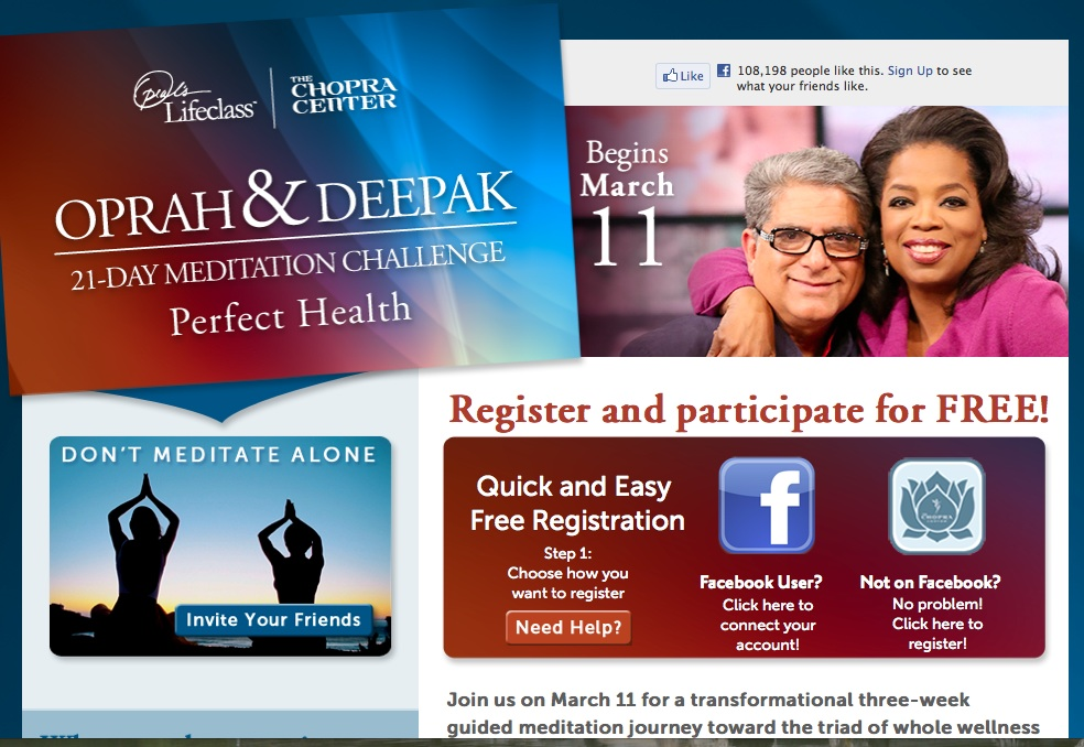 Deepak Chopra & Oprah Offering Free Meditation Program